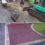 red tarmac driveway before and after