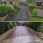red tarmac drive after with indian stone flags before and after