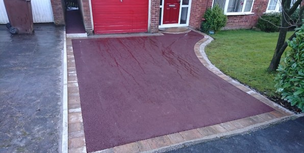 red tarmac driveway installed