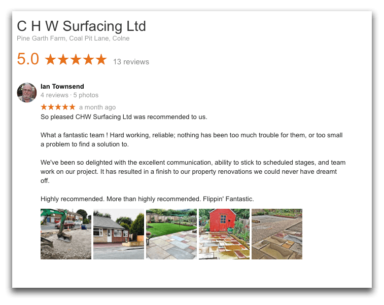 So pleased CHW Surfacing Ltd was recommended to us. What a fantastic team ! Hard working, reliable; nothing has been too much trouble for them, or too small a problem to find a solution to. We've been so delighted with the excellent communication, ability to stick to scheduled stages, and team work on our project. It has resulted in a finish to our property renovations we could never have dreamt off. Highly recommended. More than highly recommended. Flippin' Fantastic.