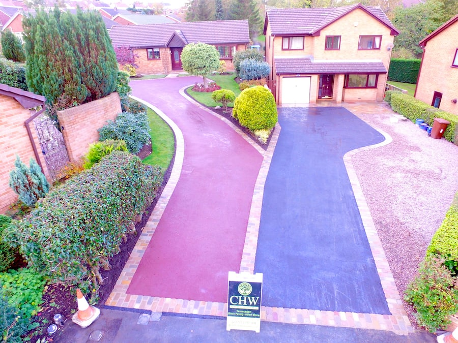 red and black driveway aerial view