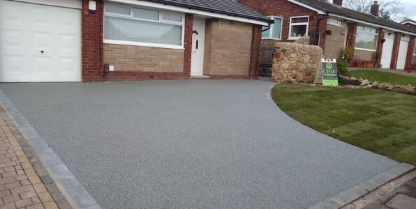 sloped resin driveway after